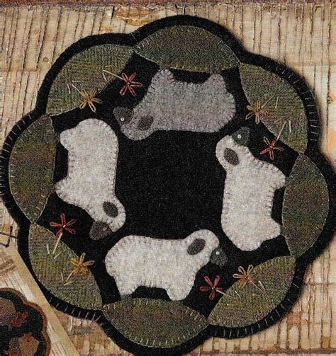 Wool Rug Round Wool Applique Pattern Sheep Penny Rug Wool Candle Mat