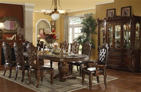 vendome traditional formal dining room cherry finish formal traditional vendome cherry 9 pc double pedesta