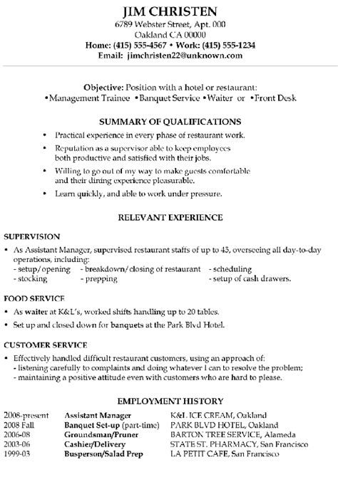 Resume Objective Exles In Hospitality Resume Sle Hotel Management Trainee And Service