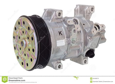 automotive air conditioning compressor on a white engine parts stock photo image of mechanic
