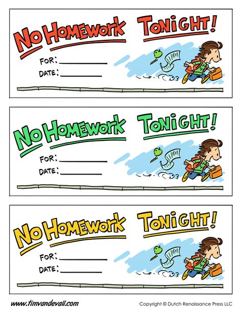 homework pass template tim s printables