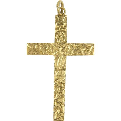import 9k gold engraved bow cross pendant from