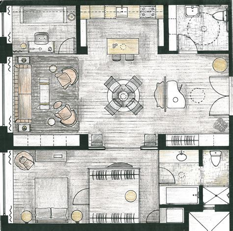 interior layout plan residential loft frederica monaco interior design