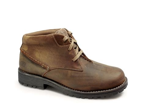 Skechers Work Shoes by Skechers Mens Lace Up Leather Work Boots Brown Skechers