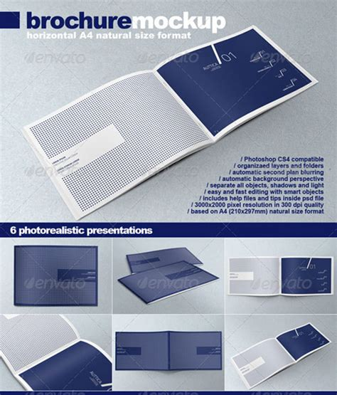 horizontal brochure template brochure mock up