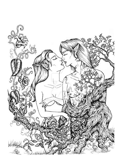 romantic coloring pages for adults elven and treant romance coloring page by keyesay on