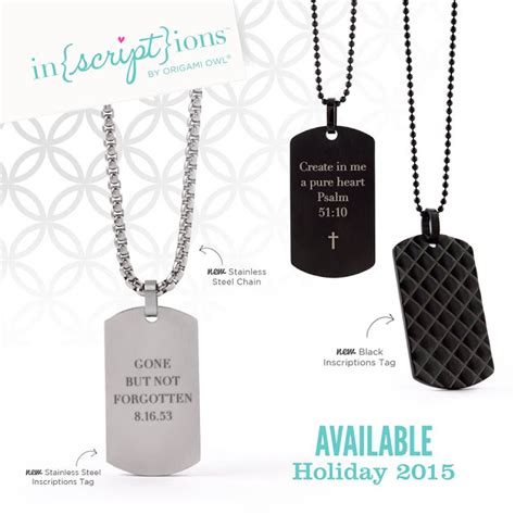 Origami Owl Tags - origami owl inscriptions tags on stainless steel chain