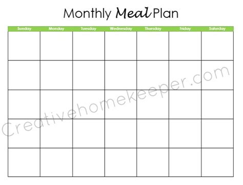 monthly dinner menu calendar template search results