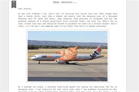 Airline Complaint Letter Jetstar Rich Wisken Complaint Letter To Jetstar Airline After Being Seated Next To Someone As Big As A