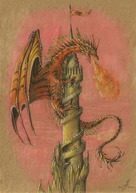 dragon on the tower by alviaalcedo on deviantart