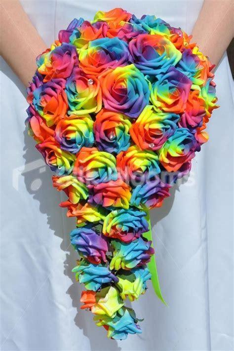 Vibrant Artificial Neon Rainbow Rose Cascade Wedding