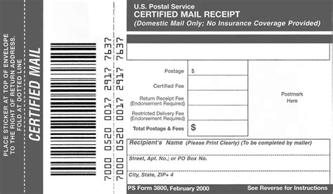 return receipt template domestic mail manual s912 certified mail