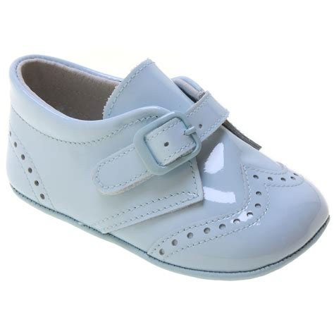 blue baby shoes baby boy blue patent brogue pram shoes cachet
