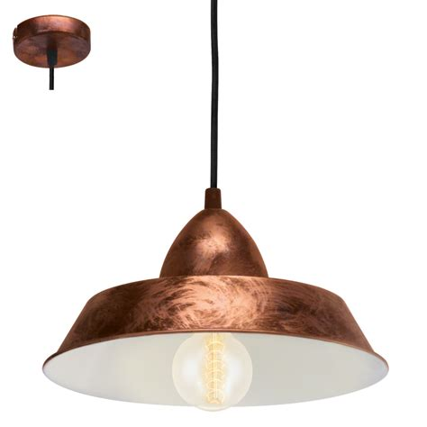 eglo 49243 auckland 1 light ceiling pendant antique copper