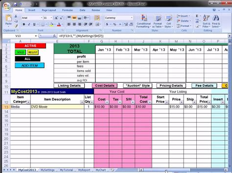 Sle Of Excel Spreadsheet by Ebay Profit Track Sales Excel Spreadsheet Ebay Spreadsheet