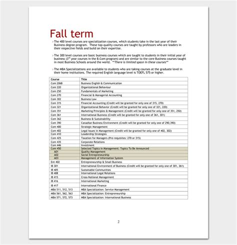 1 Year Mba In Usa Course by Program Outline Template 19 For Word Pdf