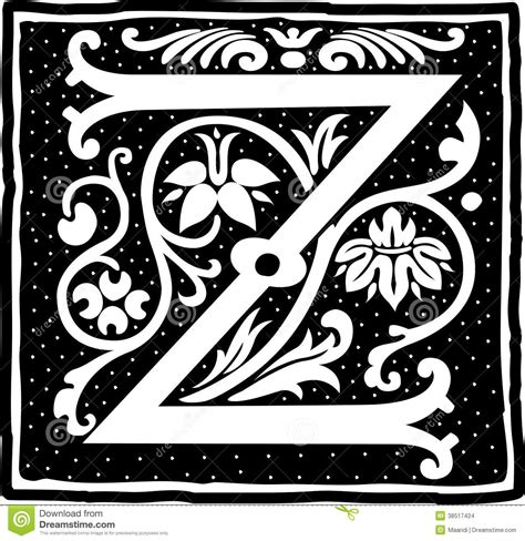 Letter Z Drawing by Vintage Letter Z In Monochrome Stock Vector Illustration
