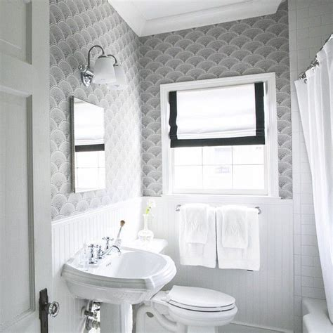 Black White Bathroom Wallpaper by Black And White Bathroom Wallpaper Transitional Bathroom