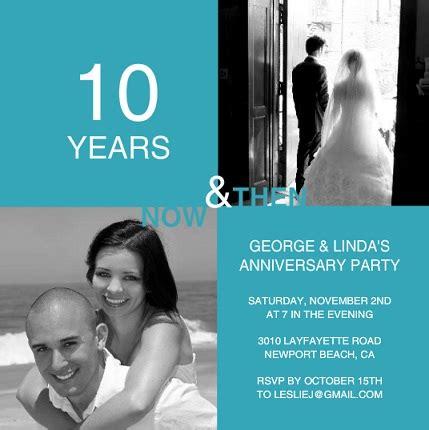 10 year anniversary card template 10th anniversary invitation wording