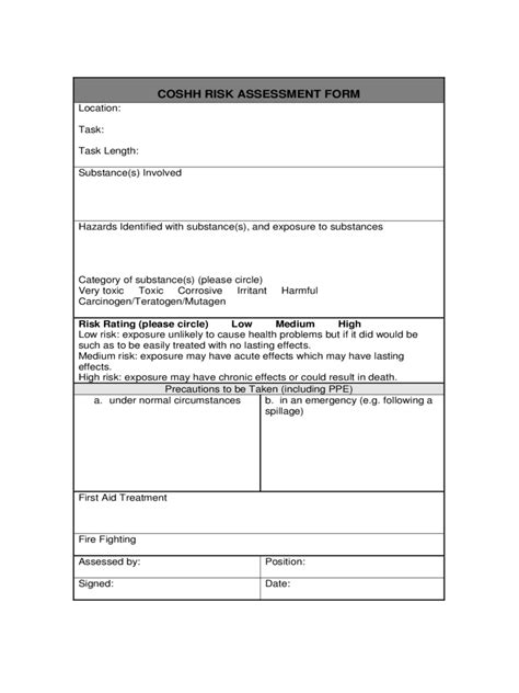coshh risk assessment template coshh risk assessment form 2 free templates in pdf word