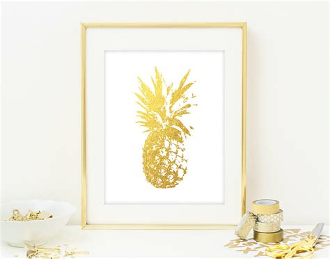 pineapple home decor pineapple wall art print modern chic home decor by