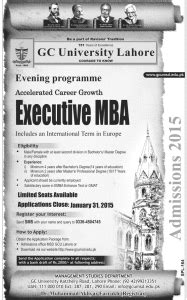 Lottery Numbers Evening Mba by Gc Lahore Executive Mba Evening Admissions
