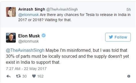 elon musk on twitter elon musk could delay launch of tesla in india owing to