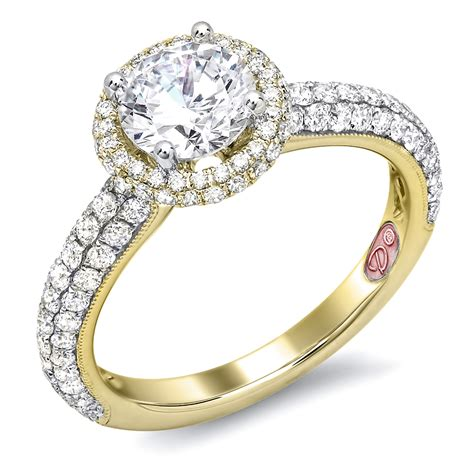 yellow gold halo engagement ring demarco bridal jewelry