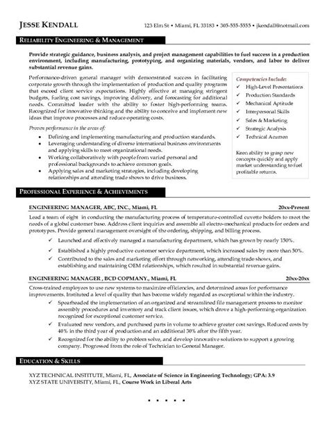 Resume Format For Engineering Manager Free Engineering Manager Resume Exle