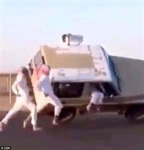 Tires Locked Up While Driving Saudi Daredevils On Running After A Car And