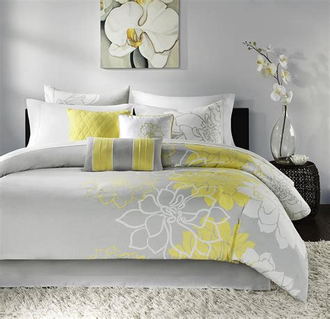 anya 8 floral print bedding set gray yellow yellow grey white simple modern bedding sets ease