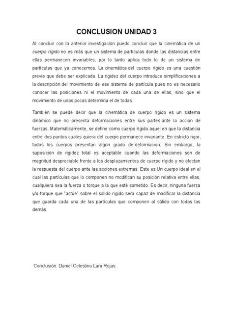 Conclusion Unidad 3-4 | Cinemática | Movimiento (Física)