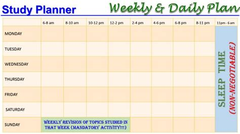 search results for daily study timetable template