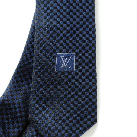 louis vuitton damier mens neck tie blue 142439