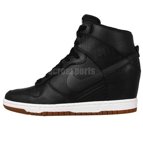 nike heel sneakers wmns nike dunk sky hi black womens heel wedges