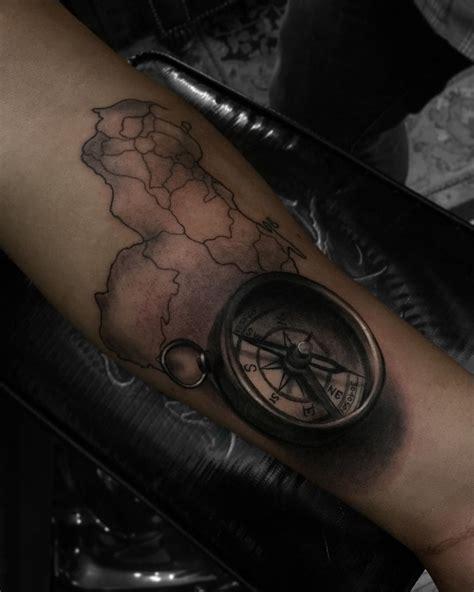 tattoo la compass map forearm best design ideas