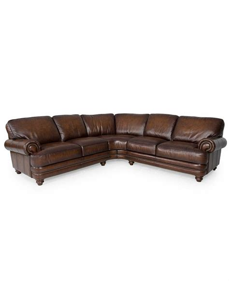 macys leather sectional sofa macy s brett leather sectional sofa 2 piece home living