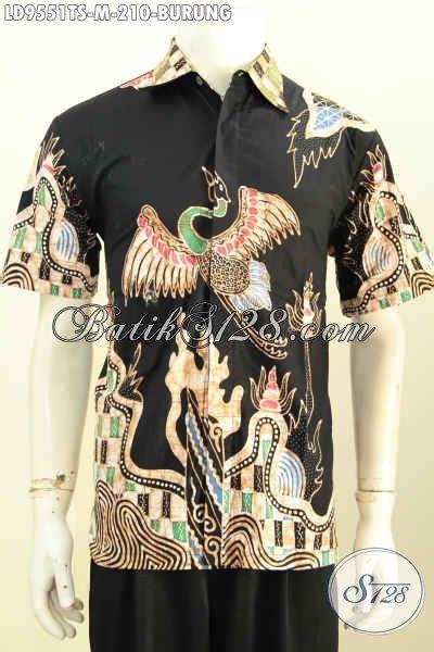 Batik Pria Katun Motif Burung jual baju batik pria modern kemeja elegan warna hitam motif burung bahan adem proses tulis soga