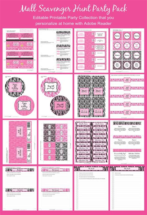 mall scavenger hunt party printables invitations pink