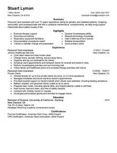 Personal Assistant Resume Exles by Best Personal Care Assistant Resume Exle Livecareer