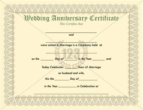 Wedding Anniversary Certificate Template by Most Memorable Wedding Anniversary Certificate Templates