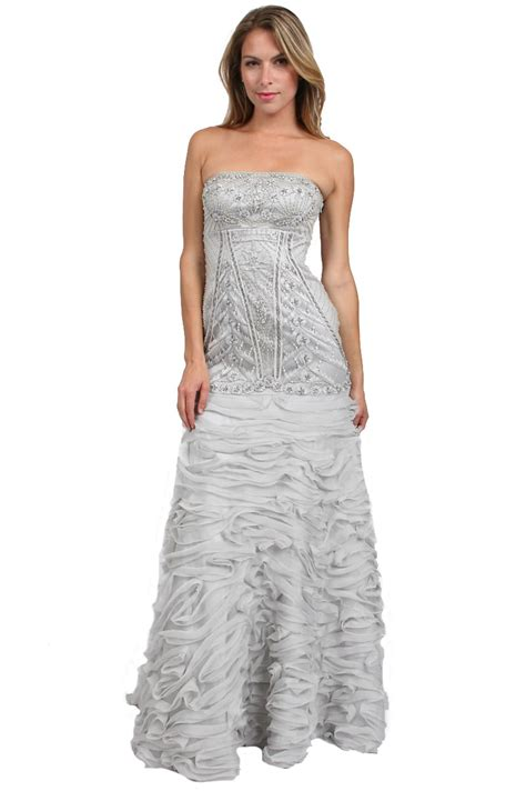 beaded silver dress sue wong strapless beaded dress in silver platinum lyst