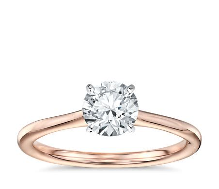 Petite Solitaire Engagement Ring in 14k Rose Gold   Blue Nile