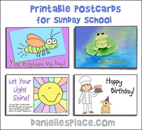 printable postcards for sunday school education crafts reading