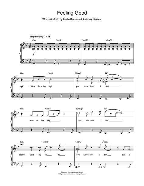 tutorial piano feeling good feeling good sheet music by nina simone piano vocal