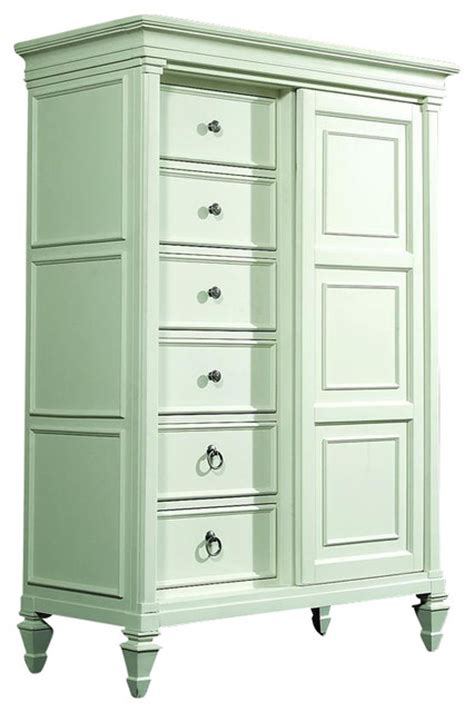 8 drawer chest with sliding cabinet door in patina white