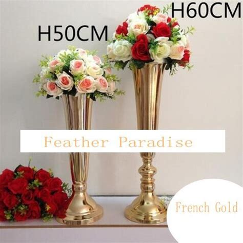 Metal Vases For Wedding Centerpieces by Gold Silver Polished Metal Trumpet Vases Wedding
