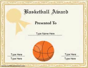 basketball certificate template free certificate free award certificate templates no