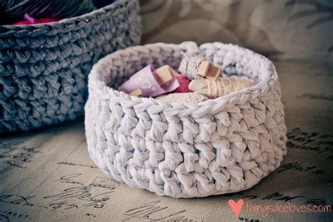 crochet basket pattern with t shirt yarn loving crocheted t shirt yarn baskets