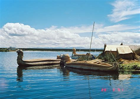 boat pet r reed boats harboured at floating island lake titicaca pe